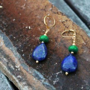 Blue Lapis Lazuli w/ Green Turquoise Gold Earring